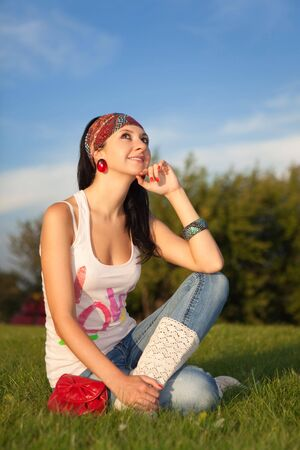 fashion woman rest in the park  Stock Photo - 5569080