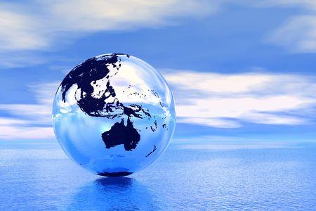 Globe in ocean, Australia view