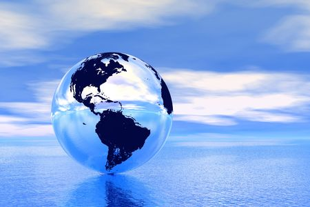 Globe in ocean, USA view photo