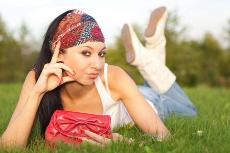 fashion woman rest in the park Stock Photo - 5620624