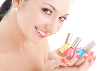 Elegant woman choose the color of nail polish Stock Photo - 5635615