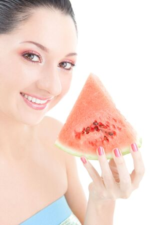 Cute woman with red watermelon on the white background photo