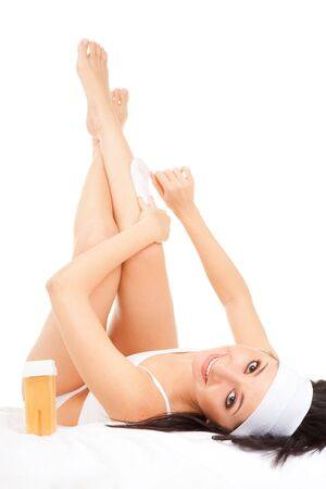 wrest: Expression woman depilating her legs
