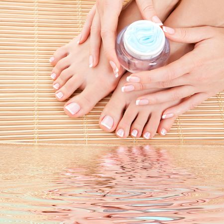 care for beautiful woman legs, hands and nails Stock Photo - 5997814