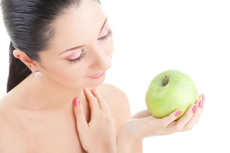 pretty woman with green apple isolated over white background Stock Photo - 6491038