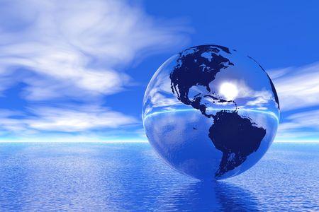 Globe in ocean, USA view  photo