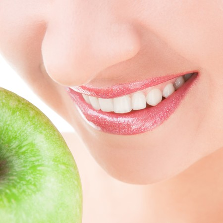 healthy teeth and green apple Stock Photo - 7488235