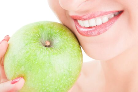 healthy teeth and green apple Stock Photo - 7873271