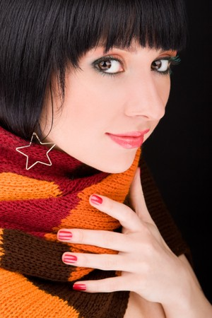 portrait of the woman with scarf on black background   photo