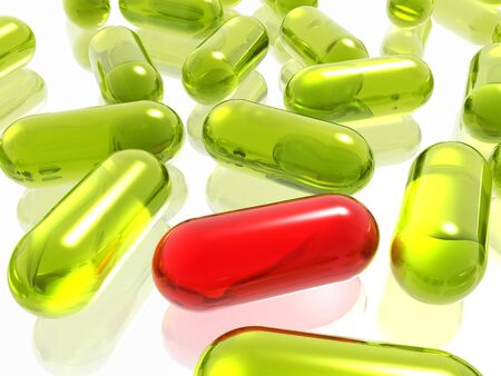 drugs pills: red and green pills on white background Stock Photo