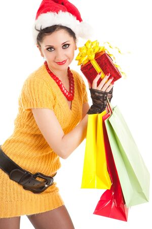 Fun santa woman with christmas gifts  photo