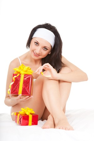 Cute woman with holiday gift box  photo
