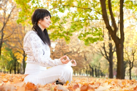 woman meditation: Pretty woman doing yoga exercises in the autumn park
