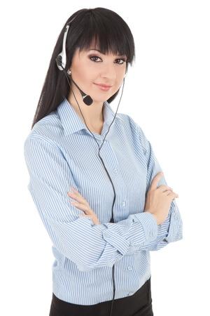 Business woman-operator in earphones  photo