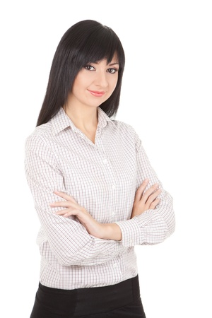 Young business woman isolated on the white background  Stock Photo - 8800682