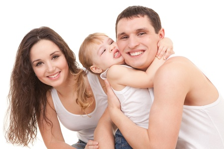 Happy mother, father and daughter playing on the white background  photo