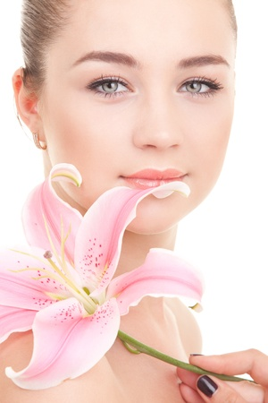 Cute woman with flower Stock Photo - 9827253