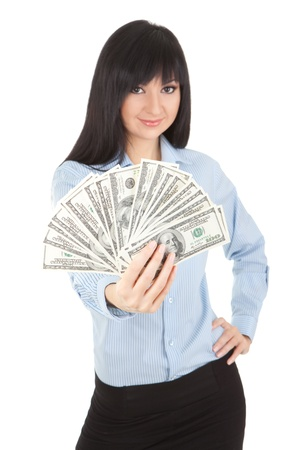 show bill: Young business woman with pile of money Stock Photo