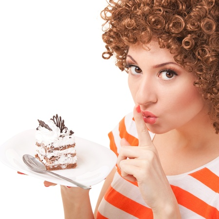 diet cartoon: fun woman eating the cake on the white background