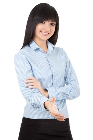 life partner: Young woman gives hand for business handshake, isolated on the white background, focus on the hand
