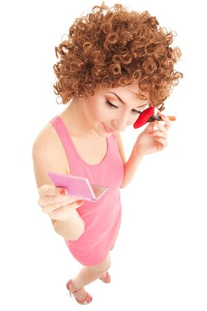 rouge: Fun woman with brush for makeup on the white background
