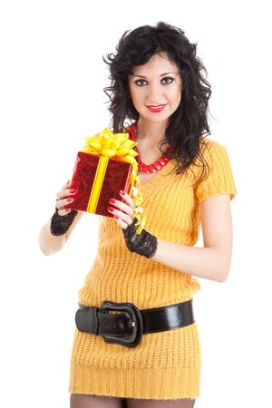Young woman with gift photo