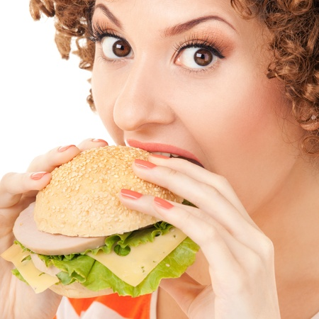 cheeseburgers: Fun woman with sandwich on the white background Stock Photo