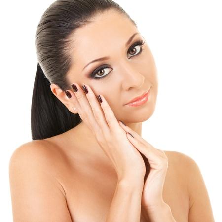 labios sexy: Retrato de la mujer joven aislado sobre fondo blanco Foto de archivo