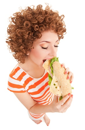 bad diet: Fun woman with sandwich on the white background Stock Photo