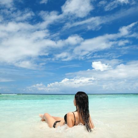 woman beach: Cute woman relax on the summer beach