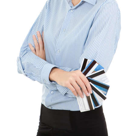 business woman with a bank cards, isolated on the white background photo