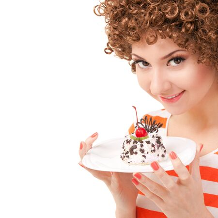woman eating cake: fun woman eating the cake on the white background
