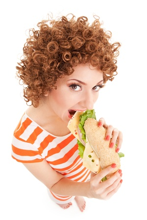 Fun woman with sandwich on the white background photo
