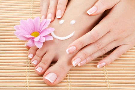manicure and pedicure: care for beautiful woman legs