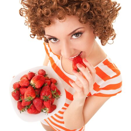 portrait young girl studio: Fun woman with strawberry on the white background