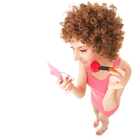 makeup brush: Fun woman with brush for makeup on the white background