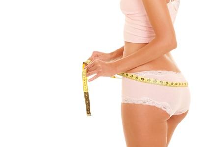 fesse: femme avec un ruban � mesurer Banque d'images