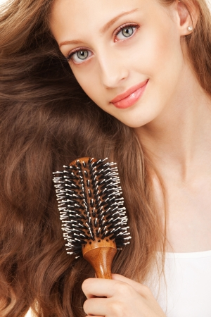 Portrait of a young woman with beautiful hair photo