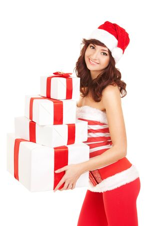 Happy santa woman with gift boxes Stock Photo - 16690828