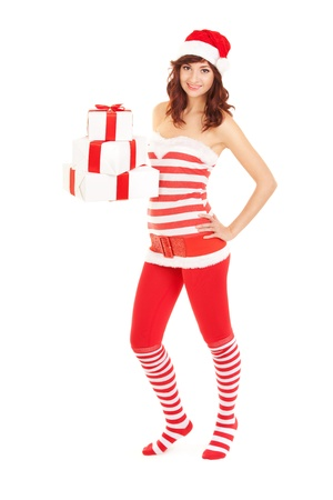 Happy santa woman with gift boxes Stock Photo - 16690848