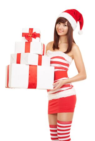 Happy santa woman with gift boxes Stock Photo - 16795755
