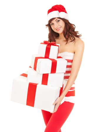 Happy santa woman with gift boxes Stock Photo - 16848277