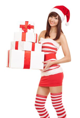 Happy santa woman with gift boxes Stock Photo - 16848278