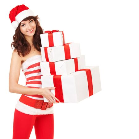 Happy santa woman with gift boxes Stock Photo - 16880283
