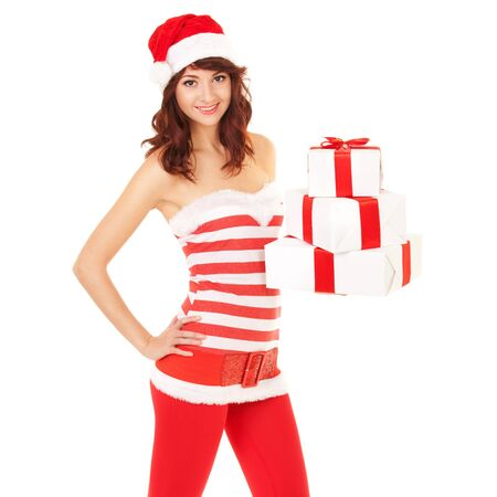 Happy santa woman with gift boxes Stock Photo - 16880295