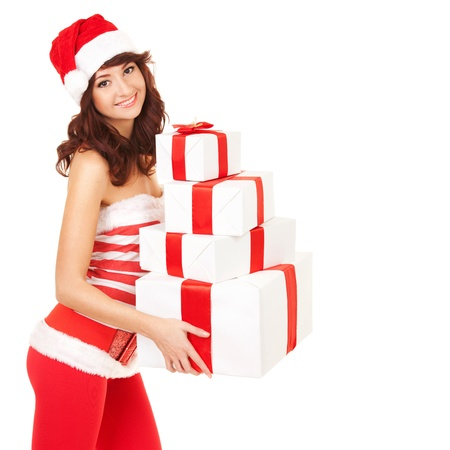 Happy santa woman with gift boxes Stock Photo - 16904289