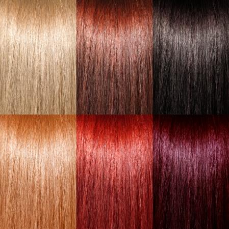 tinte cabello: Ejemplo de diferentes colores de pelo Foto de archivo