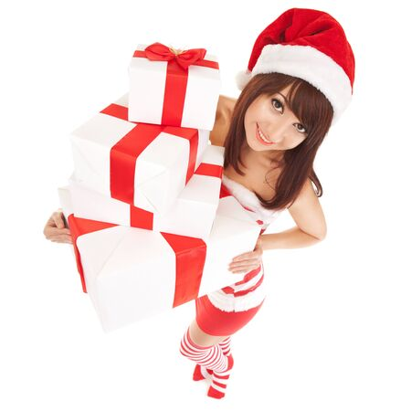 new year's cap: Happy santa woman with gift boxes