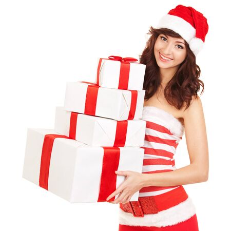 Happy santa woman with gift boxes Stock Photo - 17014742