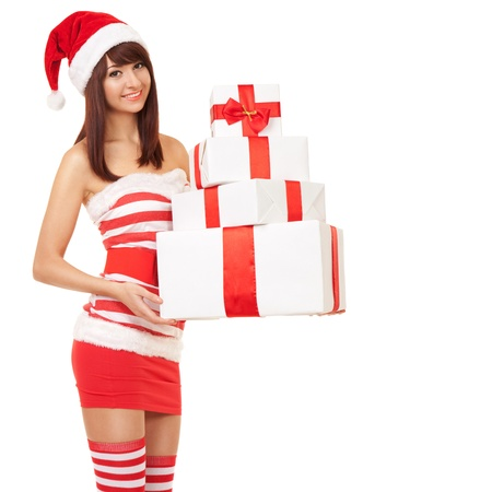 Happy santa woman with gift boxes Stock Photo - 17014731